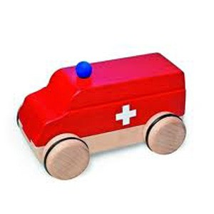 Natural Pod - Fagus Puzzle Mobile - Ambulance Red