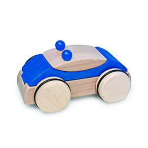 Natural Pod - Fagus Puzzle Mobile - Police Car Blue