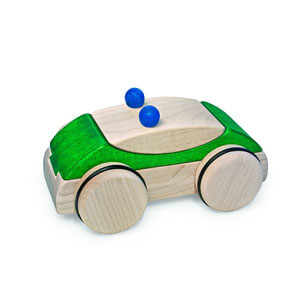 Natural Pod - Fagus Puzzle Mobile - Police Car Green