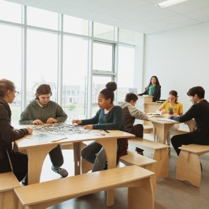 Natural Pod Multi Tables in Classroom