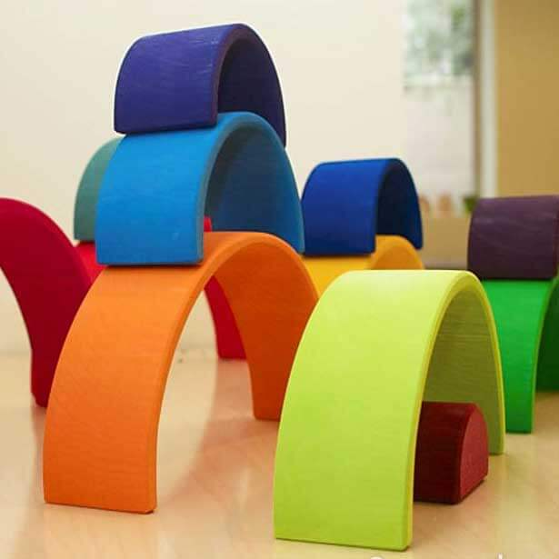 Natural Pod - Bundle - Four Elements - Wood Stacking Rainbow on Table