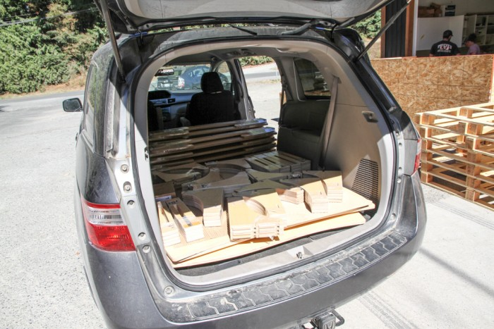 Picking up our new Natural Pod Tables and Benches.